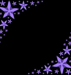 Decorative frame with violet cartoon starfishes on vector