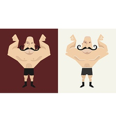 2 bald mustached athletes in 2 different styles vector