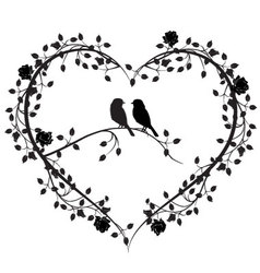 Birds with a heart of flowers 4 vector
