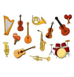 Cartoon set of colored musical instrument icons vector