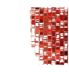 Red fragmented abstract pattern over white vector