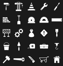 Construction icons on black background vector