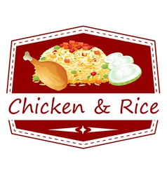 A food with a chicken and rice label vector