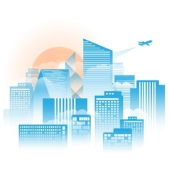 City with fog and clound in the moring sunshine vector