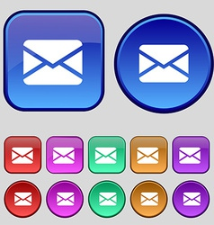Mail envelope message icon sign a set of twelve vector