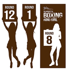 Silhouette boxing ring girl holding sign vector