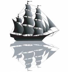 Black ship isolated on white vector