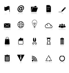 Web and internet icons with reflect on white vector