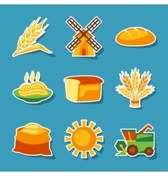 Cereal cultivation and farming sticker icon set vector