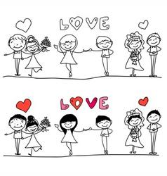 Cartoon hand-drawn love character vector