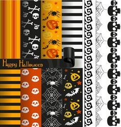 Happy halloween paper and lace for scrapbook vector