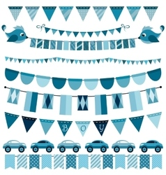 Blue flags bunting and garland set for boys vector
