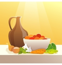 Vegetables and pitcher still life vector