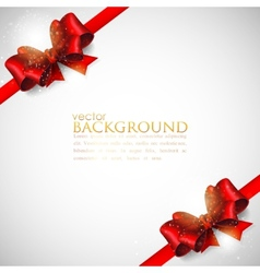 Background with red bows and ribbons vector