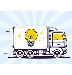 Truck free and fast delivering light bulb vector