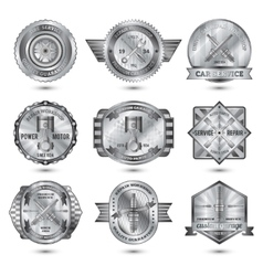 Repair workshop metal emblems set vector