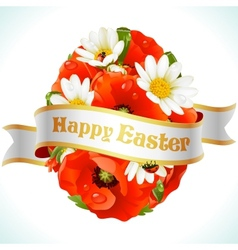 Easter egg from flowers vector