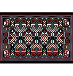 Carpet old style in blue and burgundy shades vector
