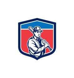 Baseball holding bat shoulder retro vector
