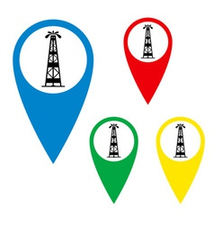 The silhouette of oil fountain on a map marker vector