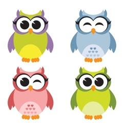 Set of owls vector