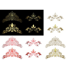Set of floral golden and red design elements vector