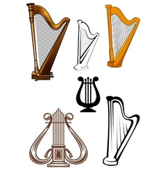 Stringed musical instruments icons set vector