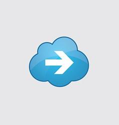 Blue cloud arrow icon vector