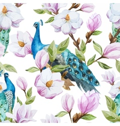 Magnolia and peacock vector