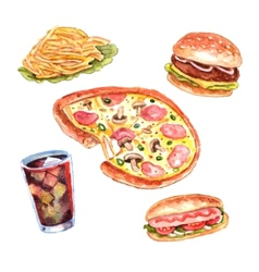 Watercolor fast food lunch menu set vector