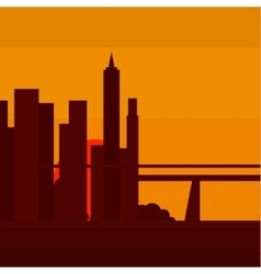 Sunset in new york into a flat vector