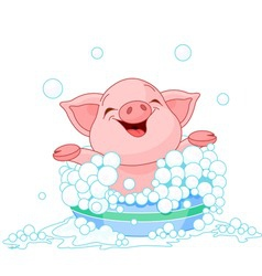 Cute piglet taking a bath vector