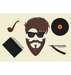 Set of hipster style icons vector