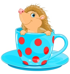 Hedgehog in the tea cup vector
