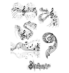 Swirling musical scores and notes vector
