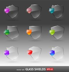 Set of glass heraldic shields vector