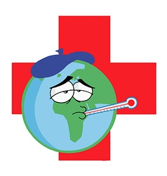 Sick world cartoon vector