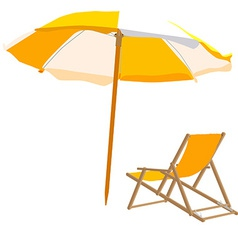 Beach chair and umbrella vector