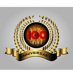 100 years anniversary golden label with ribbons v vector