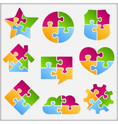 Puzzle objects collection vector