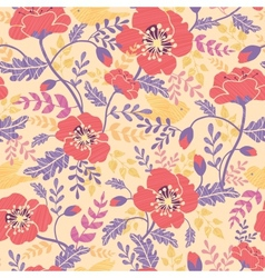 Poppy flowers and birds seamless pattern vector