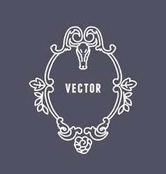 Frame made from ornaments leafs and skull line vector