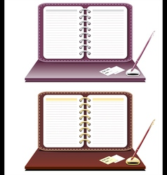 Notebook with pen isolated vector