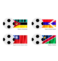 Soccer ball with mozambique nagorno karabakh flag vector