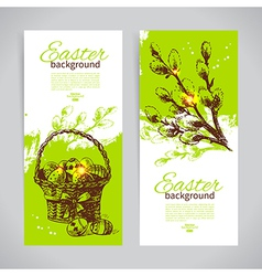 Set of vintage easter banners vector