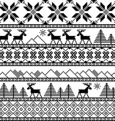 Traditional christmas knitted ornamental pattern vector