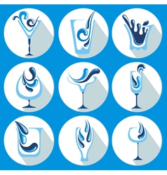 Water glasses vector