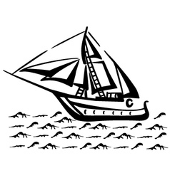 Silhouette of a sailboat on the waves vector