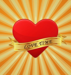 Heart with ribbon and phrase love time vector