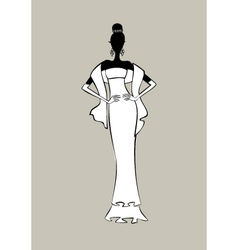 Bride fashion sketch vector